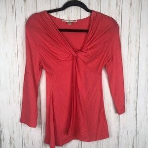 Boston Proper coral knot blouse